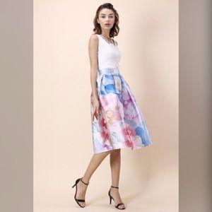 Bloom in Watercolor Printed Midi Skirt